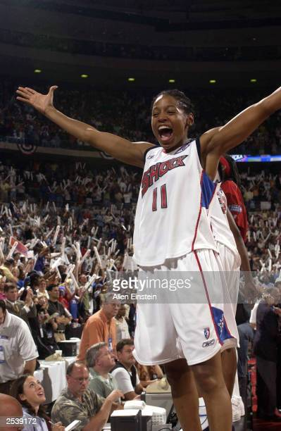 Kedra HollandCorn of the Detroit Shock celebrates after game three of the 2003 WNBA Finals against the Los Angeles Sparks at the Palace of Auburn...