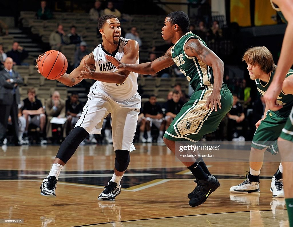 Kedren Johnson #2 of the Vanderbilt Commodores dribbles toward Brandon Britt #12 of William & Mary at Memorial Gym on January 2, 2013 in Nashville, Tennessee.