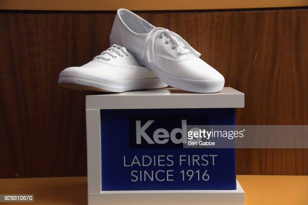 Keds shoes on display as Keds celebrates International Women's Day with Violetta Komyshan at Manhattan Plaza Racquet Club on March 8 2018 in New York...