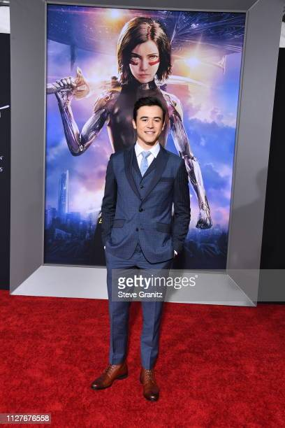 Keean Johnson attends the premiere of 20th Century Fox's Alita Battle Angel at Westwood Regency Theater on February 05 2019 in Los Angeles California