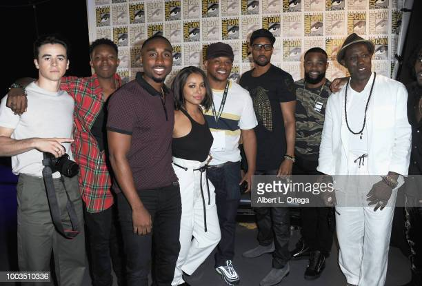 Keean Johnson Denzel Whitaker Demetrius Shipp Jr Sway Calloway RZA Tyron Woodley Wesley Snipes and Shameik Moore attend RZA Movies Music and Martial...