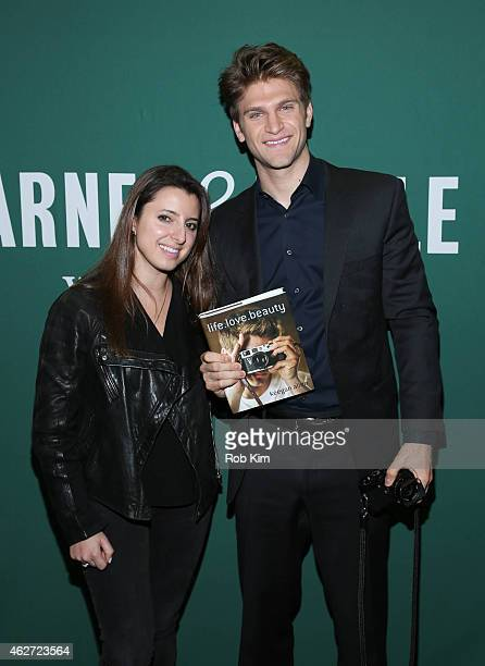Keegan Allen promotes his new book 'lifelovebeauty' with Dana Matthews at Barnes Noble Union Square on February 3 2015 in New York City