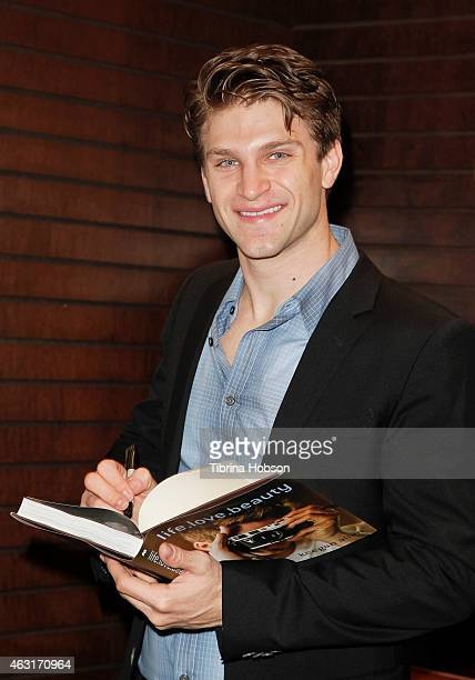 Keegan Allen signs copies of his book 'lifelovebeauty' at Barnes Noble bookstore at The Grove on February 10 2015 in Los Angeles California