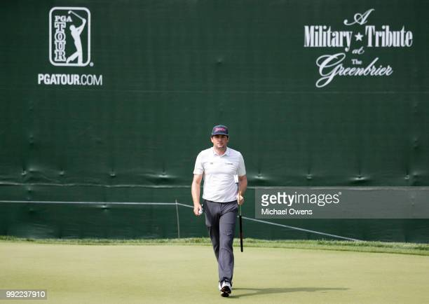 Keegan Bradley after a converting a birdie on the 18th hole during round one of A Military Tribute At The Greenbrier at the Old White TPC course on...