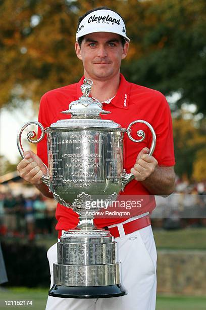 Keegan Bradley celebrates with the Wanamaker Trophy after winning a threehole playoff during the final round of the 93rd PGA Championship at the...