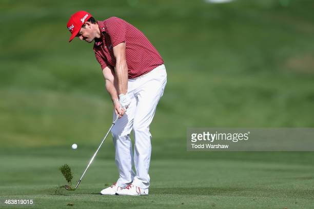 Keegan Bradley hits his second shot on the eighth hole during the final round of the Humana Challenge in partnership with the Clinton Foundation on...