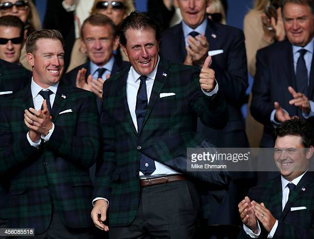 Keegan Bradley of the United States gives a thumbs up as he is introduced alongside Hunter Mahan and Patrick Reed during the Opening Ceremony ahead...