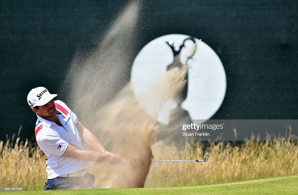 Keegan Bradley of the United States hits a shot during a practice round prior to the start of The 143rd Open Championship at Royal Liverpool on July 15, 2014 in Hoylake, England.