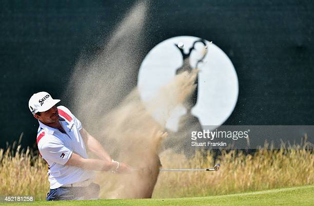 Keegan Bradley of the United States hits a shot during a practice round prior to the start of The 143rd Open Championship at Royal Liverpool on July...