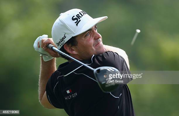 Keegan Bradley of the United States hits a tee shot during a practice round prior to the start of the 96th PGA Championship at Valhalla Golf Club on...