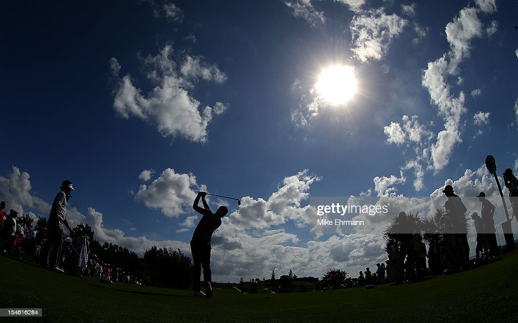 Keegan Bradley of the United States hits his tee shot on the 15th hole during the PGA Grand Slam of Golf at Port Royal Golf Course on October 23, 2012 in Southampton, Bermuda.