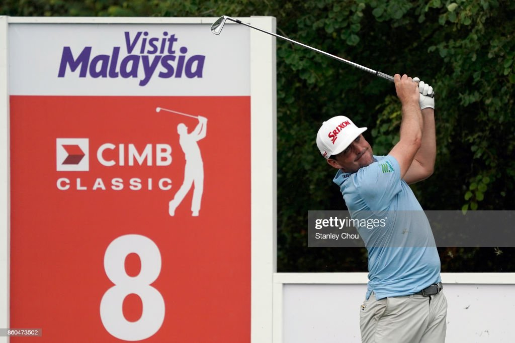 Keegan Bradley of the United States in action during round one of the 2017 CIMB Classic at TPC Kuala Lumpur on October 12, 2017 in Kuala Lumpur, Malaysia.