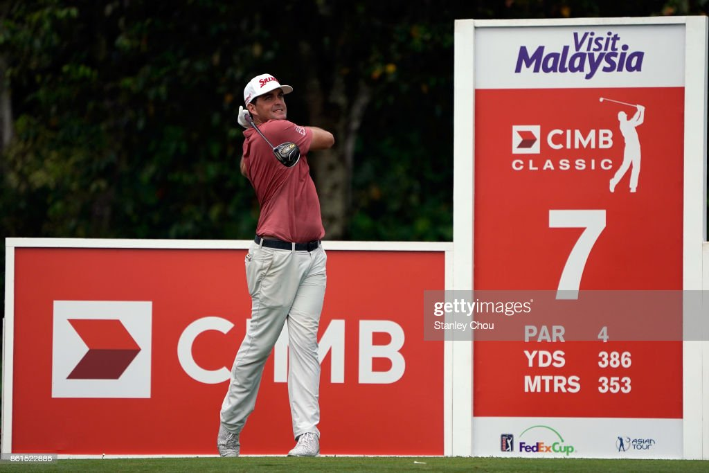 Keegan Bradley of the United States in action during the final round of the 2017 CIMB Classic at TPC Kuala Lumpur on October 15, 2017 in Kuala Lumpur, Malaysia.