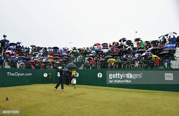 Keegan Bradley of the United States is first to tee off at the first hole during the third round of The 143rd Open Championship at Royal Liverpool on...