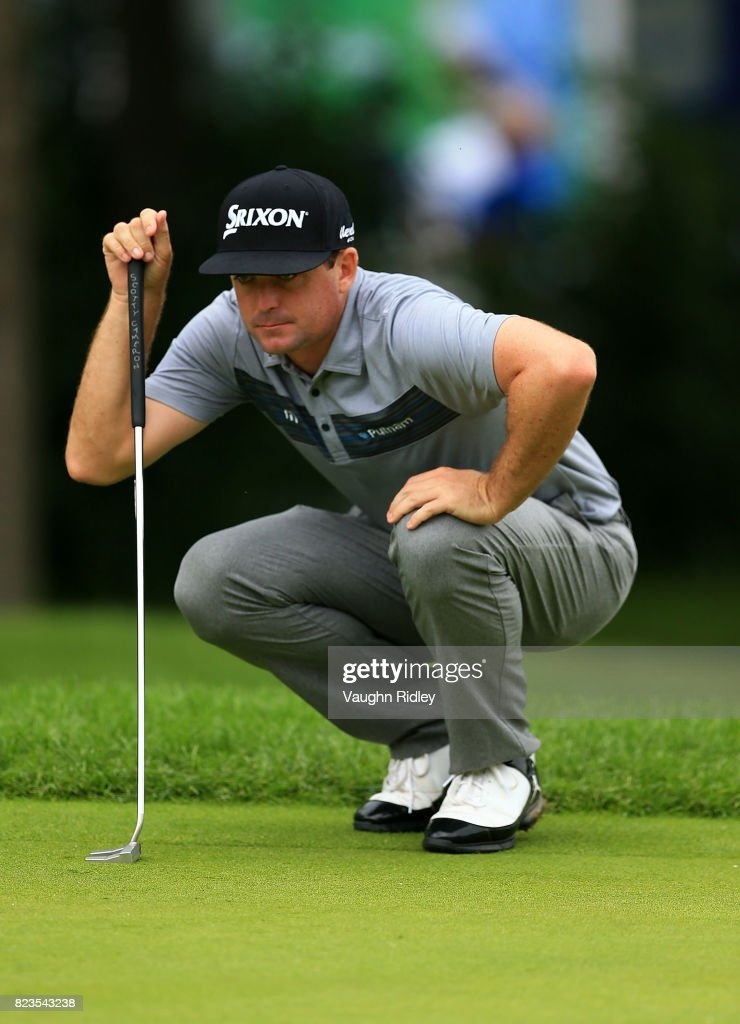 Keegan Bradley of the United States lines up a putt on the eighth hole during round one of the RBC Canadian Open at Glen Abbey Golf Club on July 27, 2017 in Oakville, Canada.