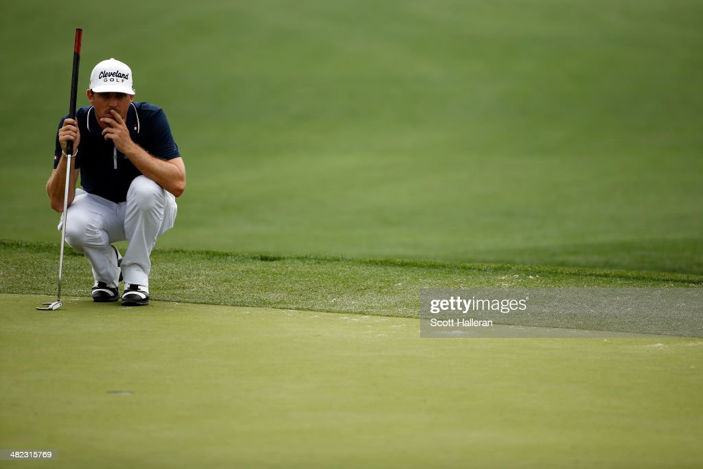 Keegan Bradley of the United States lines up an eagle putt on the eighth green during round one of the Shell Houston Open at the Golf Club of Houston on April 3, 2014 in Humble, Texas.