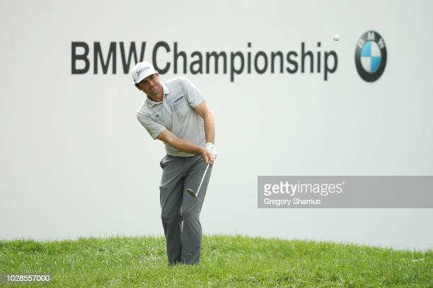 Keegan Bradley of the United States plays a shot on the 17th hole during the second round of the BMW Championship at Aronimink Golf Club on September...