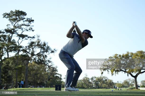 Keegan Bradley of the United States plays his shot from the ninth tee during the first round of The PLAYERS Championship on The Stadium Course at TPC...