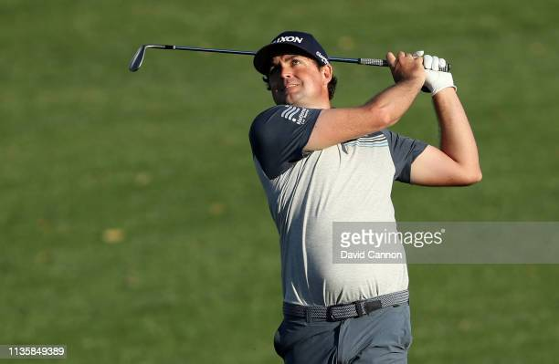 Keegan Bradley of the United States plays his third shot on the par 5 ninth hole during the first round of the 2019 Players Championship held on the...
