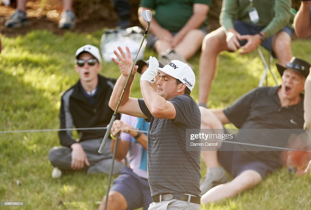 Keegan Bradley of the United States reacts on the 18th green during the first round of the World Golf Championships-Dell Match Play at Austin Country Club on March 21, 2018 in Austin, Texas.