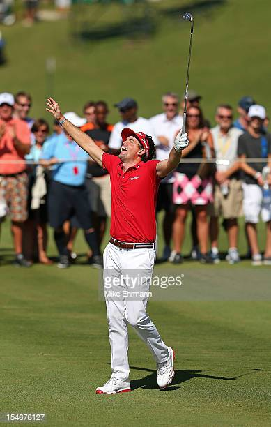 Keegan Bradley of the United States reacts to holing out for eagle on the 14th hole during the final round of the PGA Grand Slam of Golf at Port...