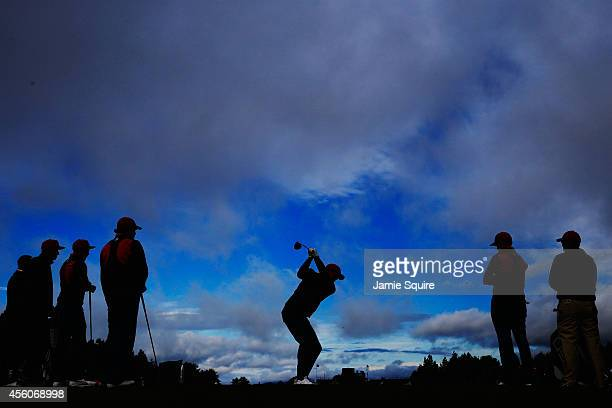 Keegan Bradley of the United States tees off during practice ahead of the 2014 Ryder Cup on the PGA Centenary course at the Gleneagles Hotel on...
