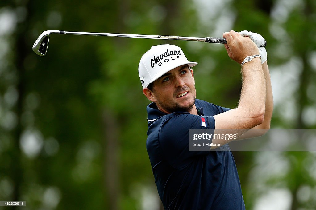 Keegan Bradley of the United States watches his tee shot on the ninth hole during round one of the Shell Houston Open at the Golf Club of Houston on April 3, 2014 in Humble, Texas.