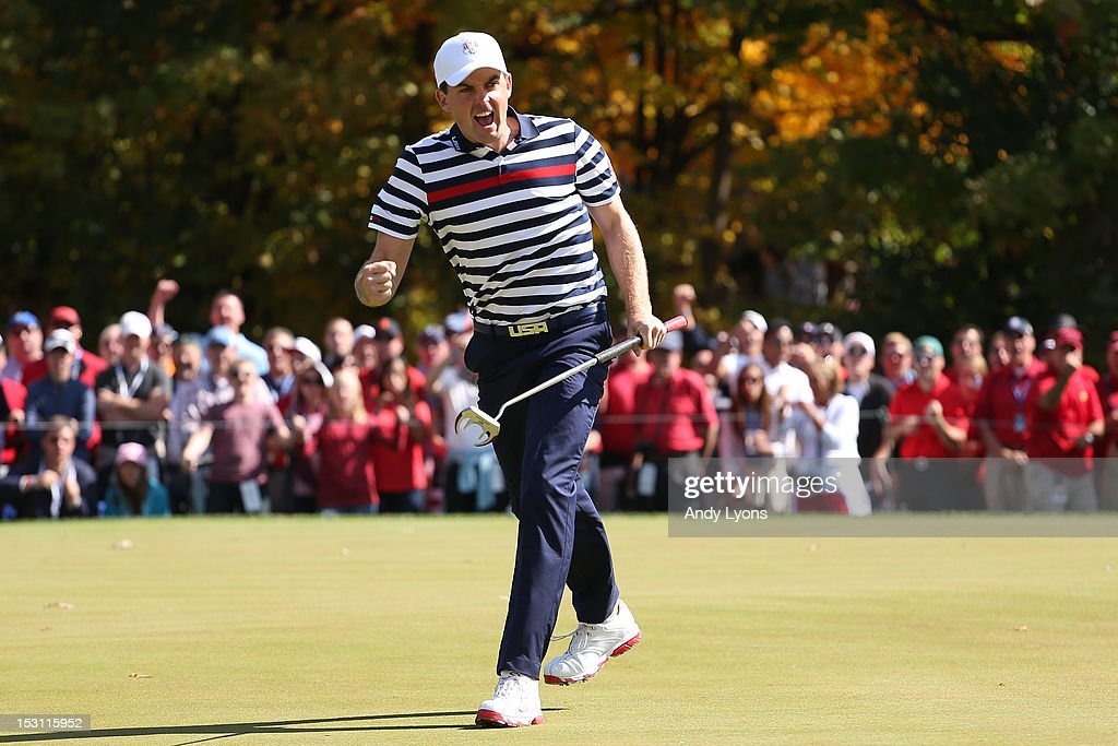 Keegan Bradley of the USA celebrates a putt during the Singles Matches for The 39th Ryder Cup at Medinah Country Club on September 30, 2012 in Medinah, Illinois.