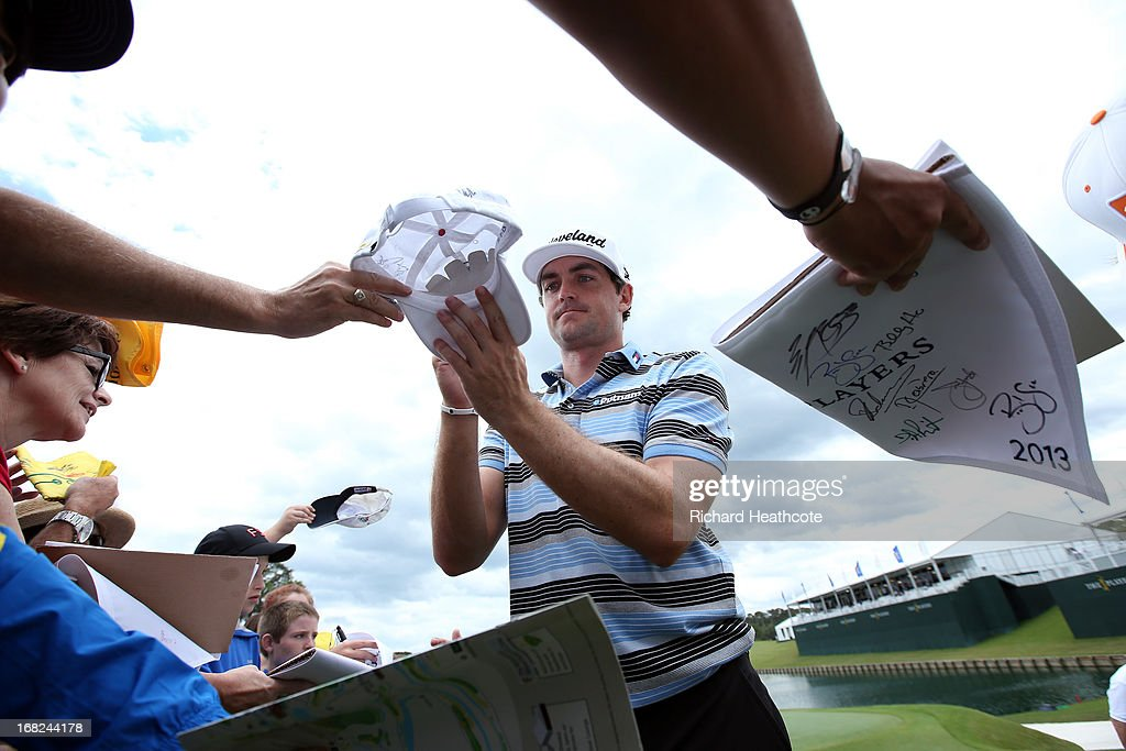 Keegan Bradley of the USA signs autographs for spectators during a practise round for THE PLAYERS Championship at TPC Sawgrass on May 7, 2013 in Ponte Vedra Beach, Florida.