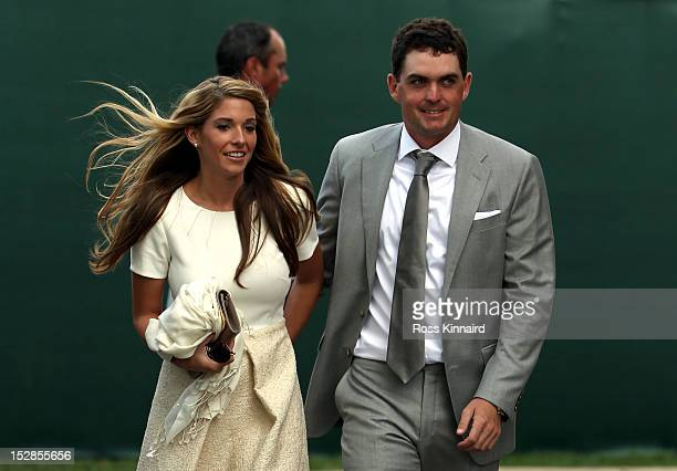 Keegan Bradley of the USA with his partner Jillian Stacey during the Opening Ceremony for the 39th Ryder Cup at Medinah Country Club on September 27...