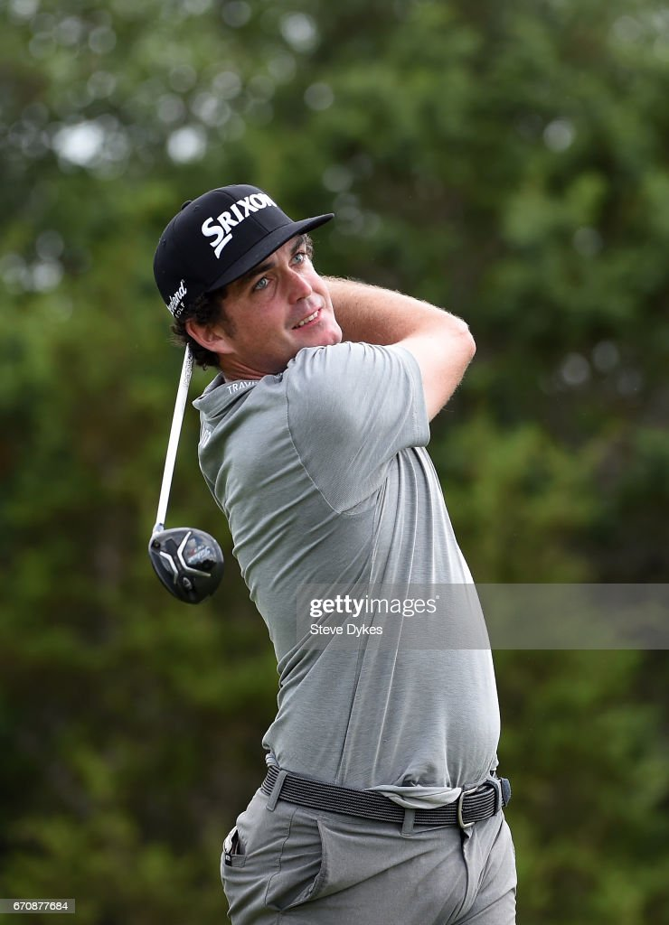 Keegan Bradley plays his shot from the 15th tee during the first round of the Valero Texas Open at TPC San Antonio AT&T Oaks Course on April 20, 2017 in San Antonio, Texas.