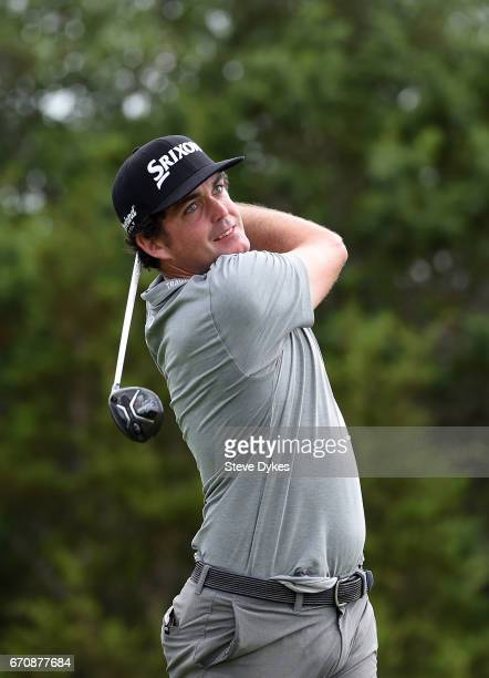 Keegan Bradley plays his shot from the 15th tee during the first round of the Valero Texas Open at TPC San Antonio ATT Oaks Course on April 20 2017...