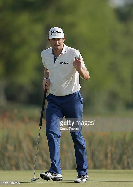 Keegan Bradley reacts after his birdie putt on the 18th during Round Two of the Zurich Classic of New Orleans at TPC Louisiana on April 25, 2014 in...