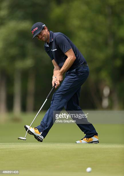 Keegan Bradley reacts to a missed putt for birdie on the 16th during Round Three of the Zurich Classic of New Orleans at TPC Louisiana on April 26,...
