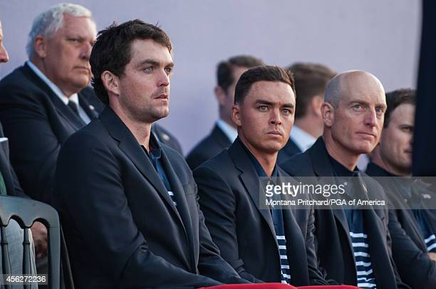 Keegan Bradley Rickie Fowler and Jim Furyk of the USA Team listen during the award ceremony for the 40th Ryder Cup at Gleneagles on September 28 2014...