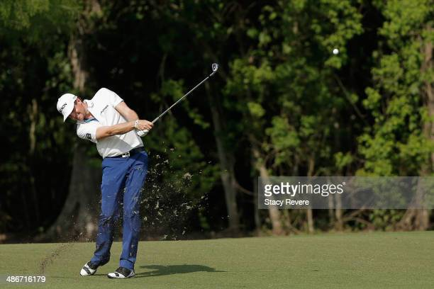 Keegan Bradley takes his shot on the 16th during Round Two of the Zurich Classic of New Orleans at TPC Louisiana on April 25, 2014 in Avondale,...