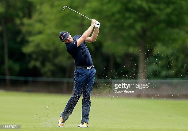 Keegan Bradley takes his shot on the 4th during Round Three of the Zurich Classic of New Orleans at TPC Louisiana on April 26 2014 in Avondale...