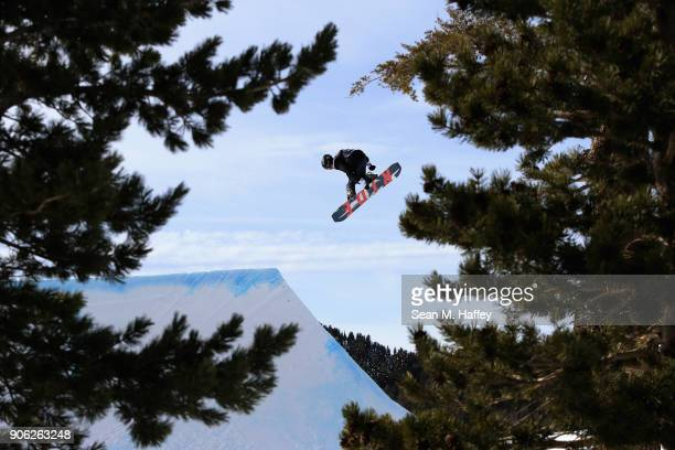 Keegan Hosefros competes in the qualifying round of Men's Snowboard Slopestyle during the Toyota US Grand Prix on on January 17 2018 in Mammoth...