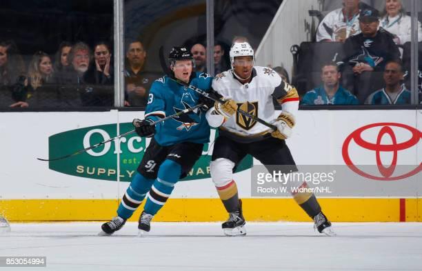 Keegan Kolesar of the Vegas Golden Knights skates against Julius Bergman of the San Jose Sharks at SAP Center on September 21 2017 in San Jose...