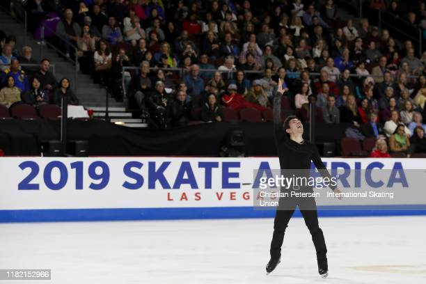 Keegan Messing of Canada performs during men's free skating in the ISU Grand Prix of Figure Skating Skate America at the Orleans Arena on October 19,...