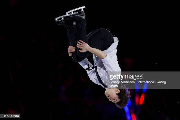 Keegan Messing of Canada performs in the Gala Exhibition during day five of the World Figure Skating Championships at Mediolanum Forum on March 25...