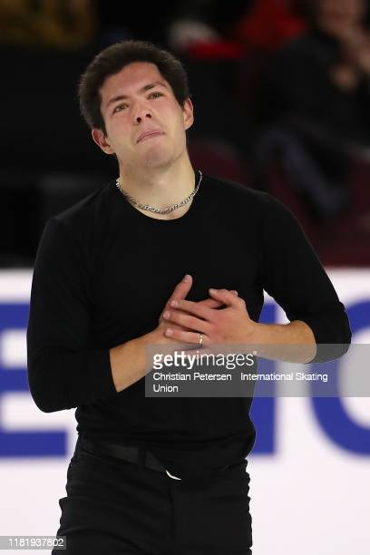 Keegan Messing of Canada reacts after performing during men's short program in the ISU Grand Prix of Figure Skating Skate America at the Orleans...