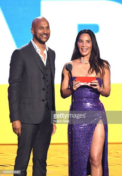 Keegan Michael Key and Olivia Mun speak onstage during the 2018 MTV Video Music Awards at Radio City Music Hall on August 20, 2018 in New York City.