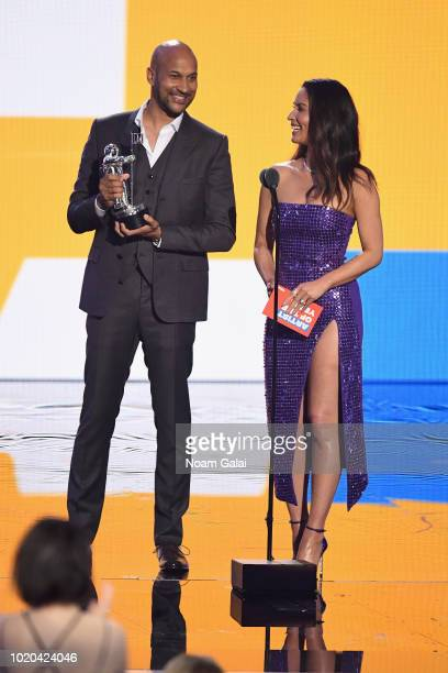 Keegan Michael Key and Olivia Munn speak onstage during the 2018 MTV Video Music Awards at Radio City Music Hall on August 20, 2018 in New York City.