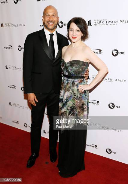 Keegan Michael Key and wife Elisa Pugliese attend the 21st annual Mark Twain Prize for American Humor at The Kennedy Center on October 21 2018 in...