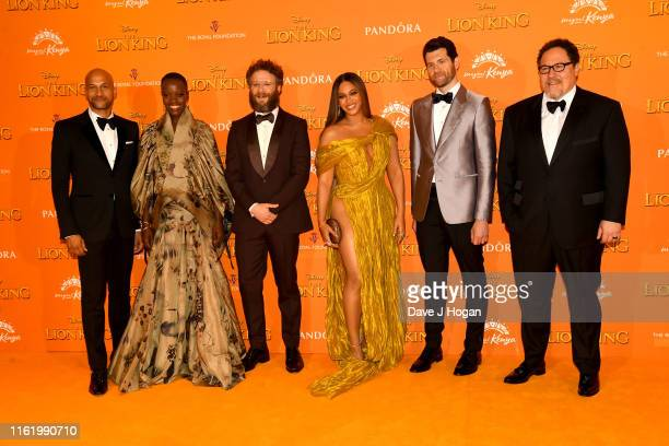 Keegan MichaelKey Florence Kasumba Seth Rogen Beyonce KnowlesCarter Billy Eichner and Jon Favreau attend The Lion King European Premiere at Leicester...
