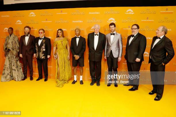 Keegan MichaelKey Florence Kasumba Seth Rogen Elton John Lebo M Beyonce Pharrell Williams Tim Rice Billy Eichner Jon Favreau and Hans Zimmer attend...