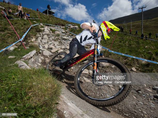 Keegan Wright of New Zealand during qualifying for the Men's Downhill event at the UCI Mountain Bike World Cup on June 3 2017 in Fort William Scotland