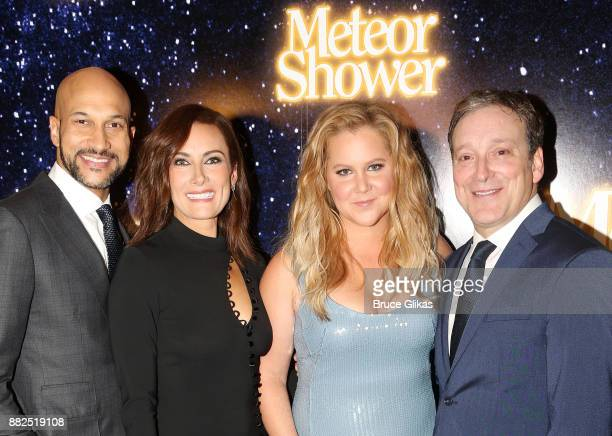 KeeganMichael Key Amy Schumer Laura Benanti and Jeremy Shamos pose at the opening night party for Steve Martin's new play 'Meteor Shower' on Broadway...