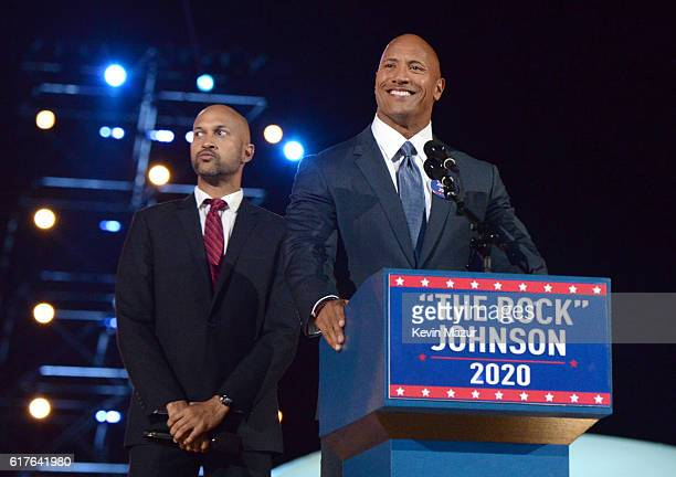 KeeganMichael Key and Dwayne 'The Rock' Johnson perform onstage during 'Spike's Rock the Troops' event held at Joint Base Pearl Harbor Hickam on...